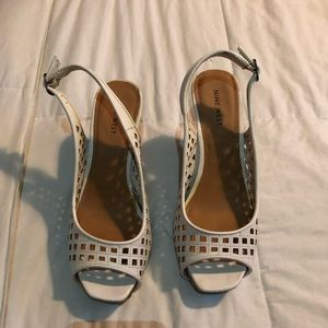 Nine West white wedges